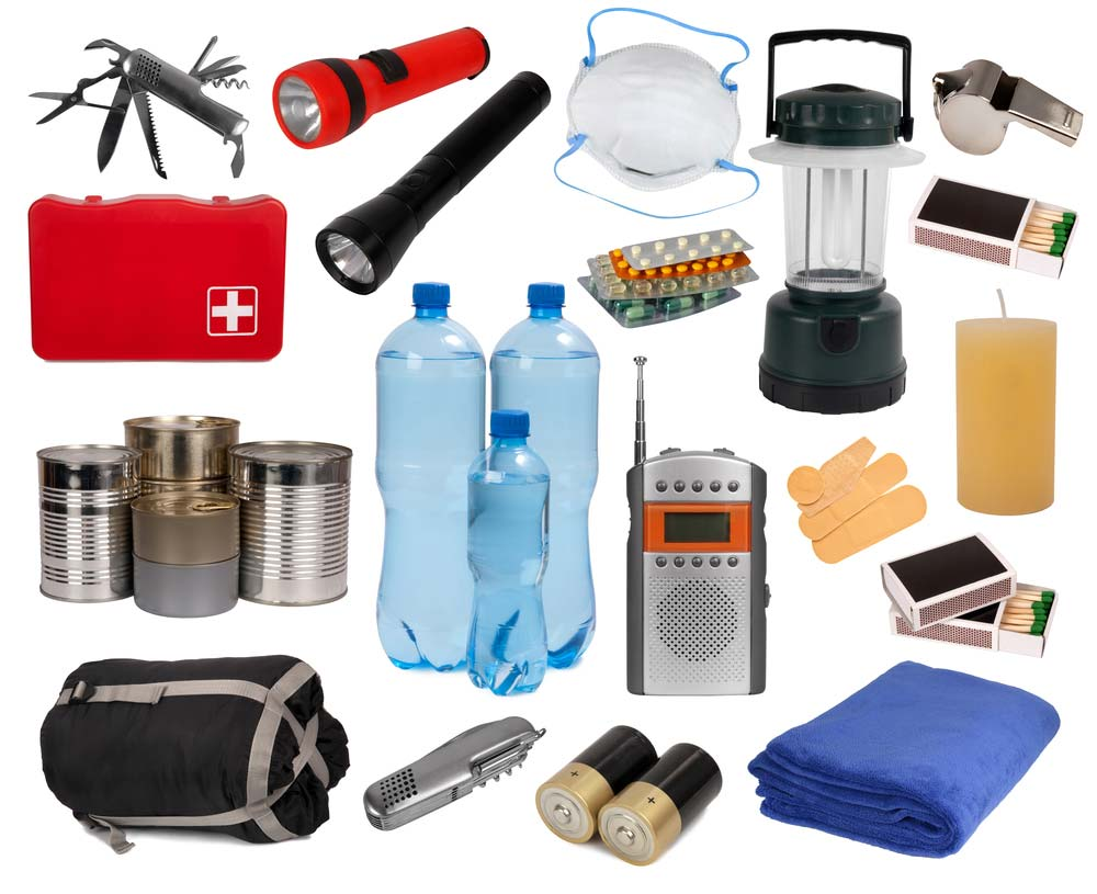 Emergency supplies for disaster survival kit