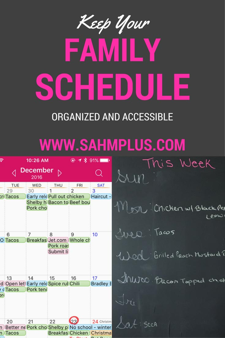 Best way to organize and keep up with your family schedule using a calendar app and a visual schedule board