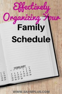 Planner on wooden background. How to effectively organize your family schedule and keep everyone up to date | www.sahmplus.com