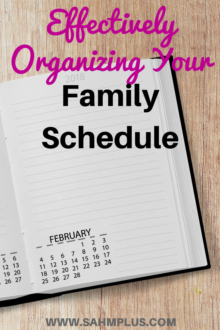 Planner on wooden background. How to effectively organize your family schedule and keep everyone up to date   www.sahmplus.com