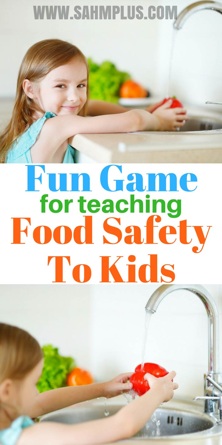 Teaching food safety and handwashing to kids can be fun. A neat game for parents to play with children to help prevent illness | www.sahmplus.com