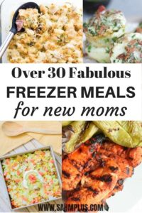 More than 30 fabulous freezer meals for new moms. Make these freezer meals before baby arrives. Get your bulk shopping down and plan some pre baby freezer meals and spend more time enjoying postpartum life with your new baby