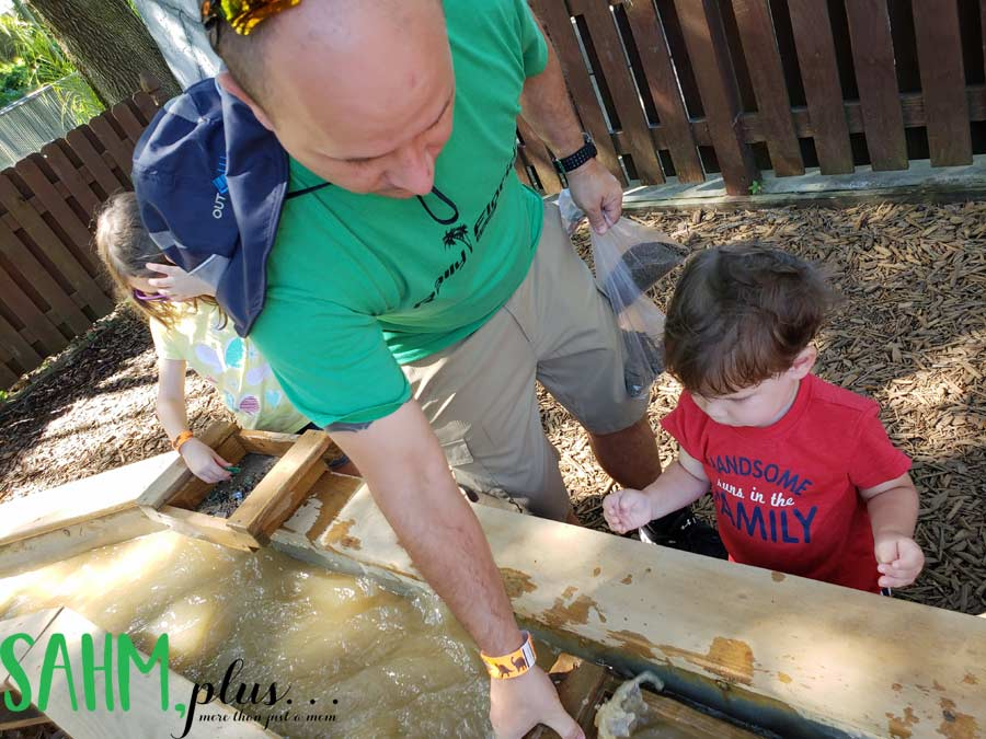 Kids gem mining at Dinosaur World Plant City with Excavation Pass | sahmplus.com