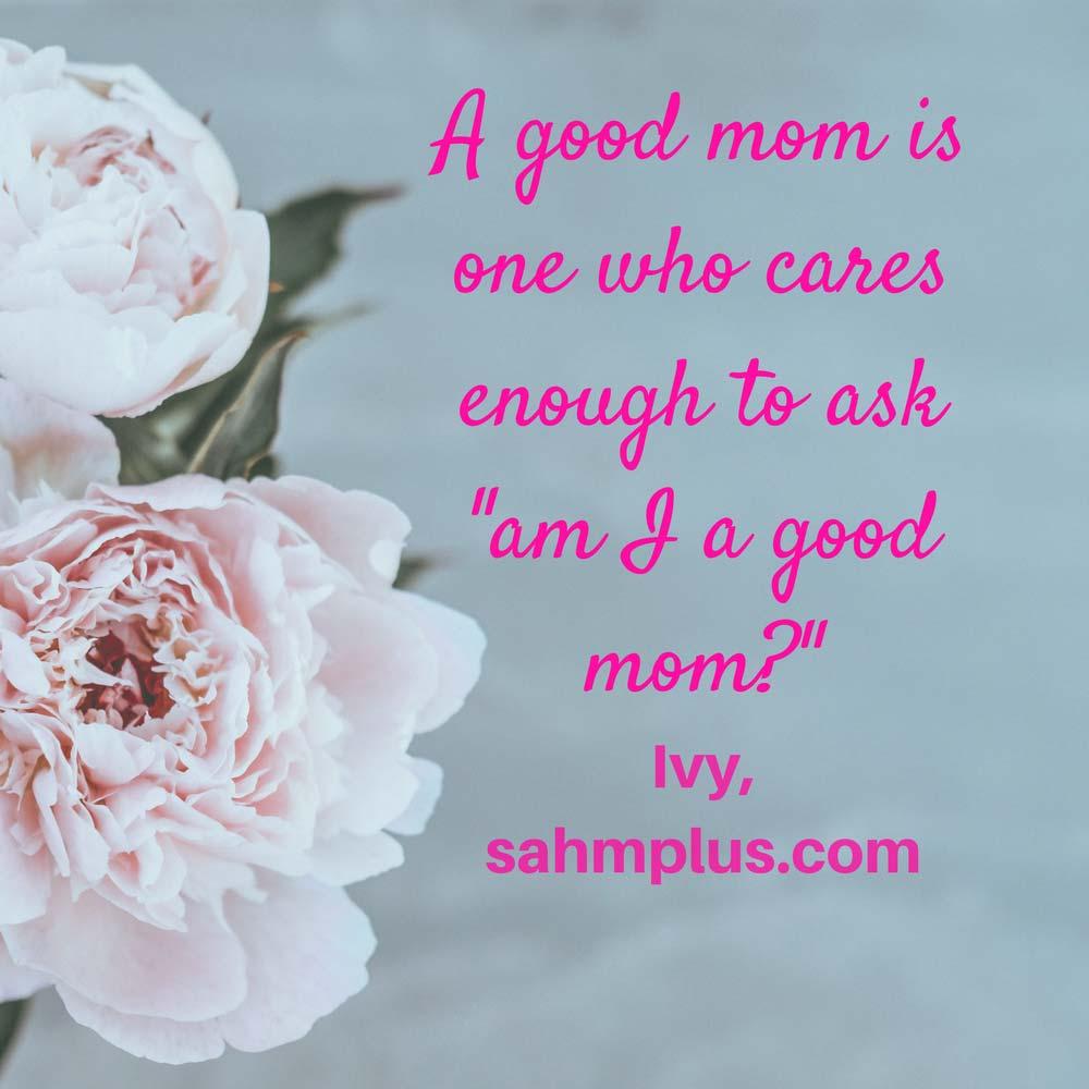 If you care enough to ask, you are a good mom! | sahmplus.com
