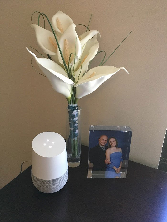 What I loved in May 2017 | Google Home device on dresser | www.sahmplus.com