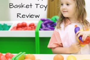 Free printable grocery shopping activity for toddler or preschooler. Plus the Play and Learn shopping basket toy review | www.sahmplus.com