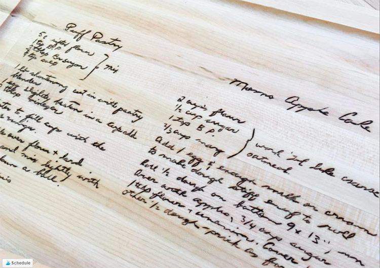 Hand burned family recipe board, heirloom mother's day gift idea on Etsy