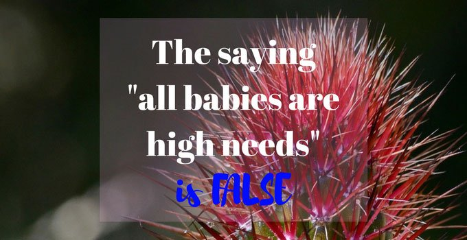 "The saying ""all babies are high needs"" really irritates me. There IS a difference"
