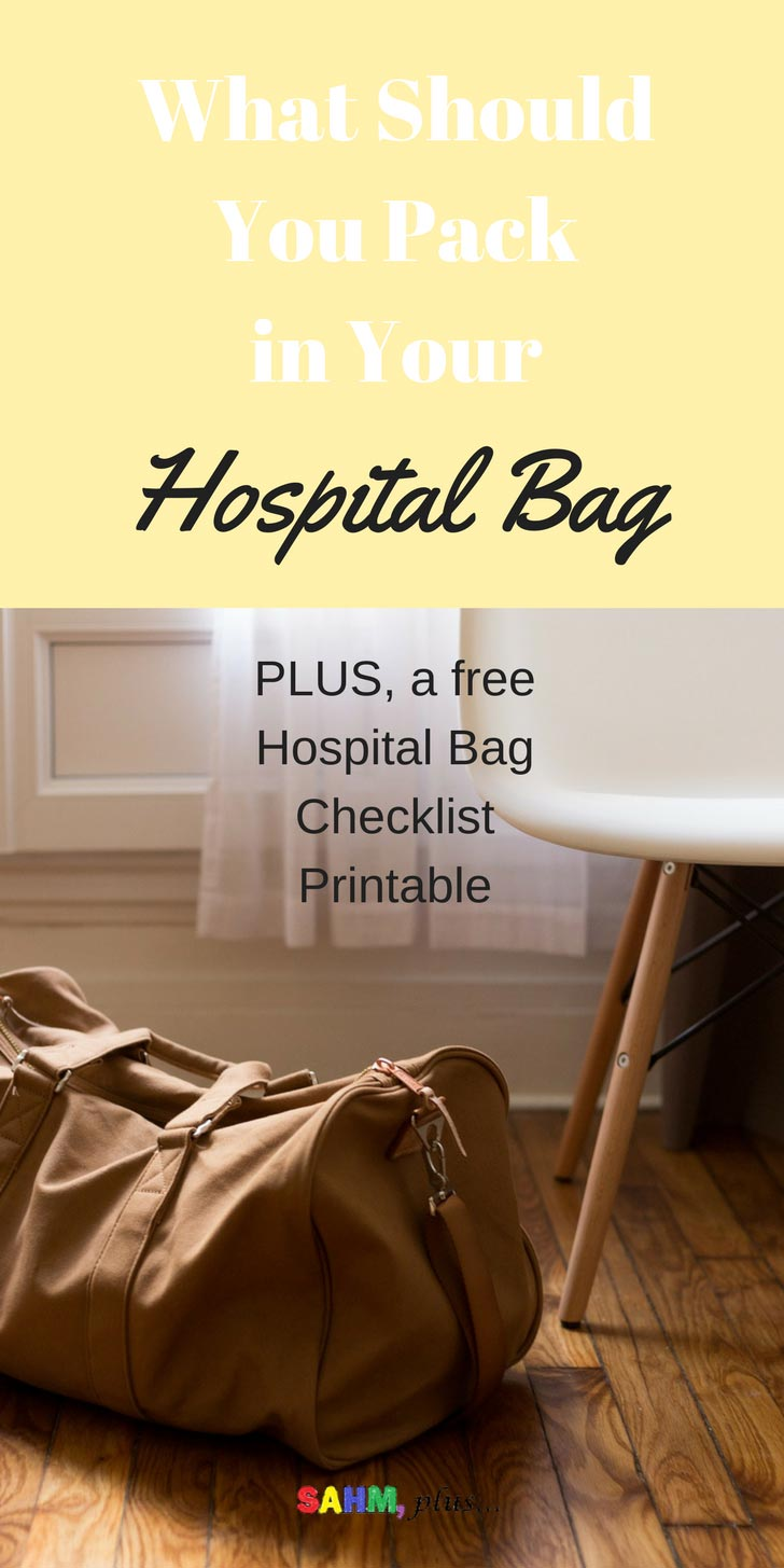 Getting ready to have a baby? What should you pack in your hospital bag? Check out what was in my hospital bag and get your free printable hospital bag checklist via www.sahmplus.com