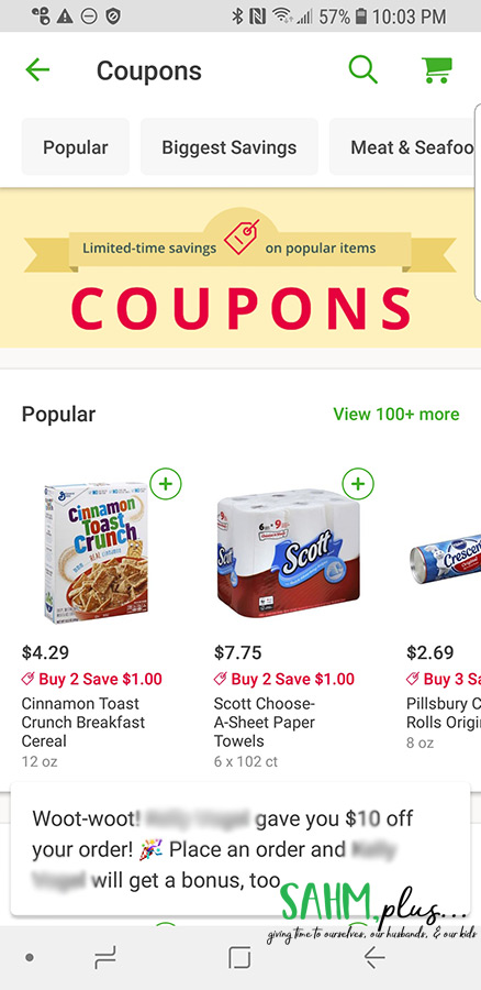 Coupons section on Instacart app | sahmplus.com