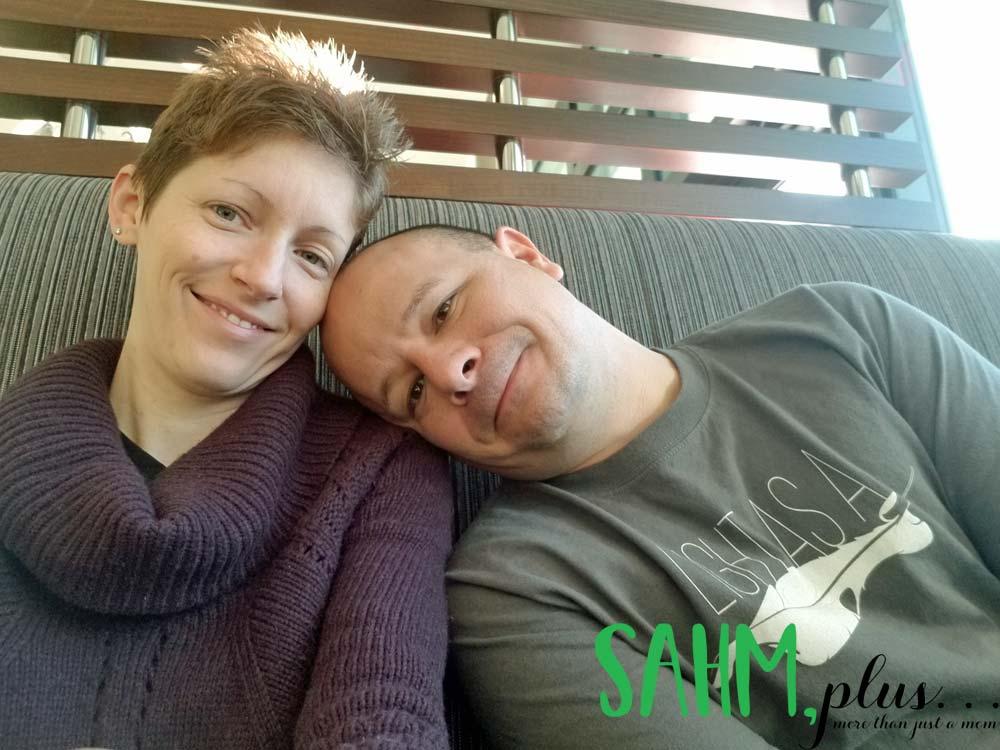 Ivy with husband at a restaurant near Atlanta