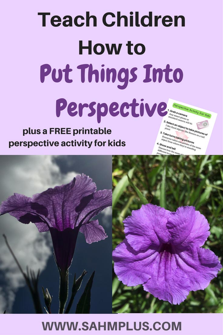 Put things into perspective - childhood lessons for kids and a simple perspective activity for kids. Sometimes children learn best through activity. Teach kids about perspective with this free printable perspective activity for kids   www.sahmplus.com