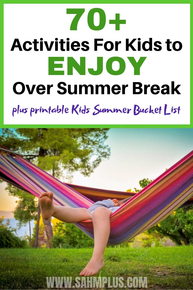 Crazy long list of 70+ things to do with kids over the summer. Free printable kids summer bucket list of activity ideas.