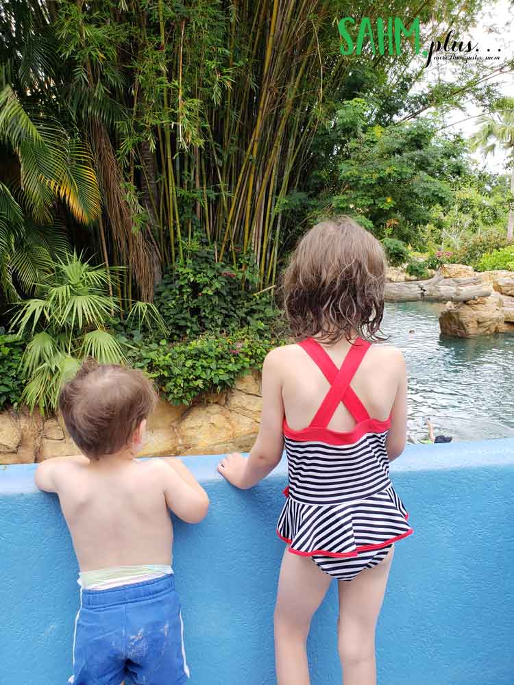 Young children at Discovery Cove watching people in lazy river | sahmplus.com