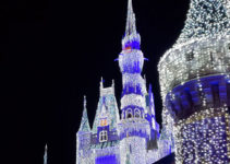 Cinderella Castle and Magic Kingdom lit for Mickey's Very Merry Christmas