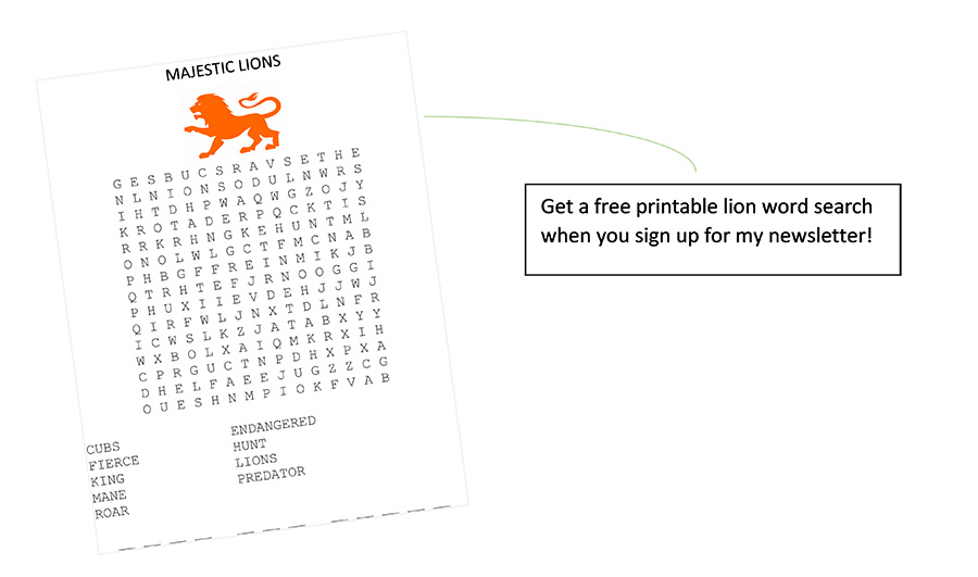 free printable lion word search with email signup | sahmplus.com