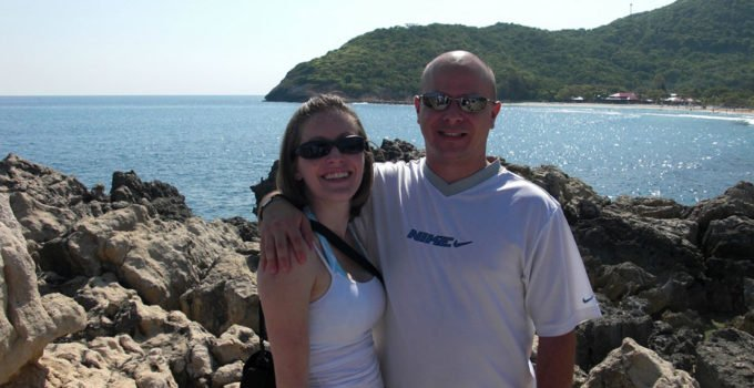 Us on our honeymoon. I discuss who the lucky one is in our relationship