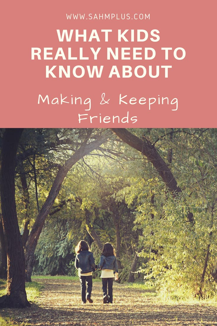 This easy to read book helps teach kids how to make and keep friends. What do kids need to know about making friends and building healthy friendships? The answers are here and easy for kids of many ages to grasp. Clearly written for all children, but includes ways shy or awkward children can make friends too. www.sahmplus.com