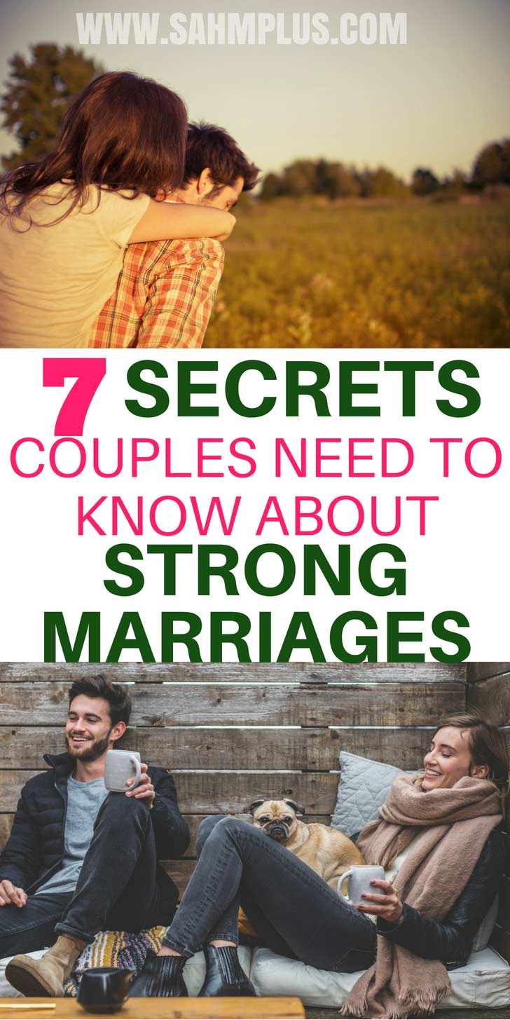 7 marriage strengthening tips and truths about couples in strong marriages. For couples looking to improve their relationships and build a stronger marriage | sahmplus.com