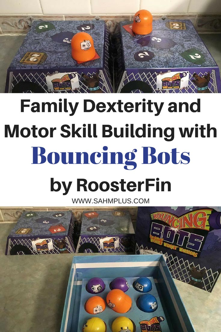 Improve motor skills and dexterity as a family while building basic math skills for younger kids with the Bouncing Bots game by RoosterFin. | Fun and educational family game | www.sahmplus.com