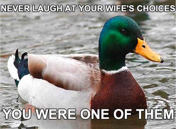 don't laugh at your wife's choices funny marriage meme