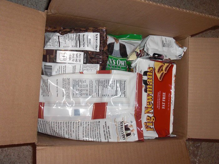 Box of Newman's Own Organics goodies for review