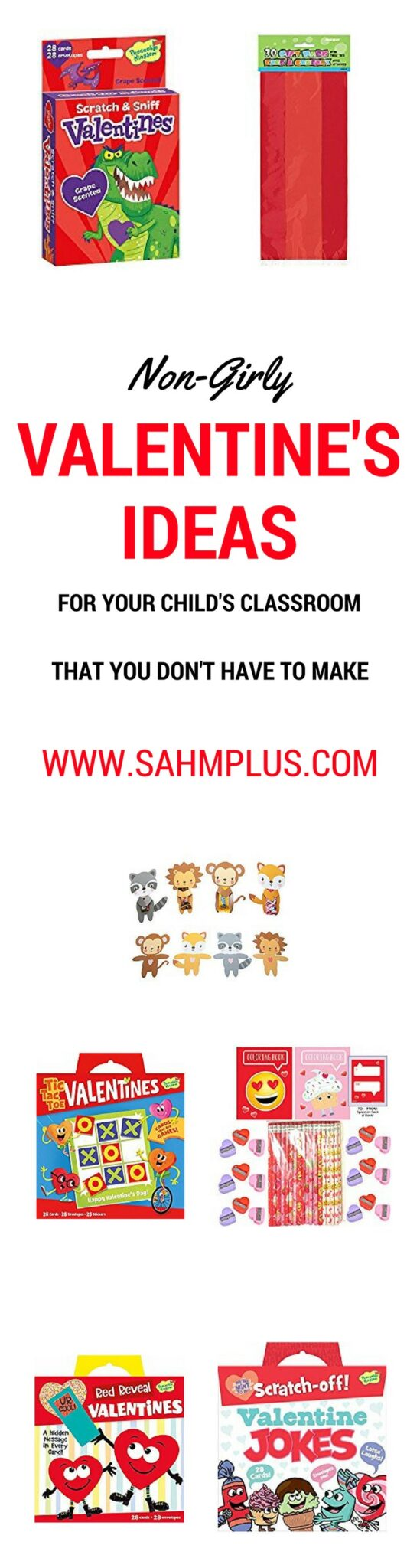 Valentine's Day cards for your child's classroom that aren't girly, you don't have to make, and are non-candy