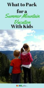 How should you pack the kid stuff for a summer mountain vacation? Here's my list of must haves for a summer vacation in the mountain with young children. | www.sahmplus.com