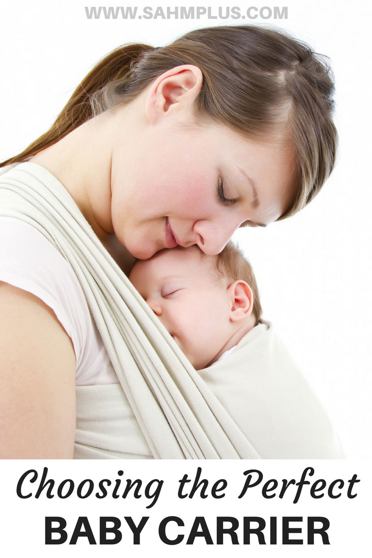 Mother with baby in a wrap style baby carrier. Tips for Choosing the perfect baby carrier, plus 3 most popular baby carrier styles | www.sahmplus.com