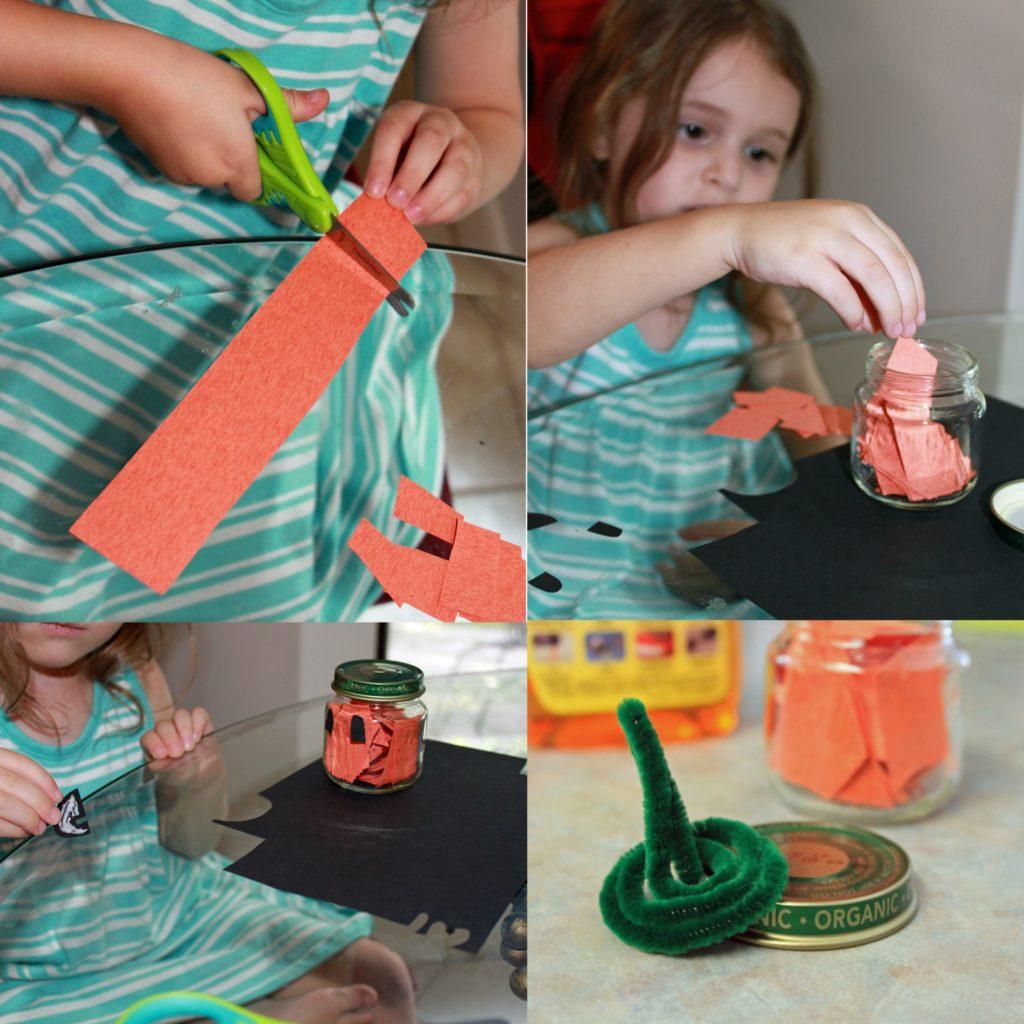 pumpkin crafting, child helping with the DIY mini pumpkin jar craft © www.sahmplus.com
