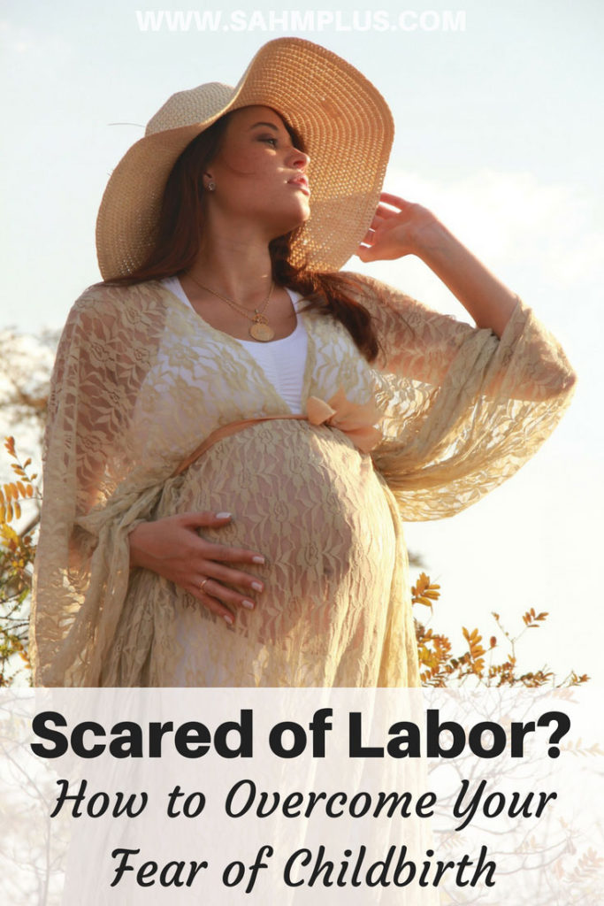 pregnant woman staring into sky -pinterest image for Scared of labor? Tips to help overcome fear of childbirth from a mom who did it without drugs twice! | www.sahmplus.com