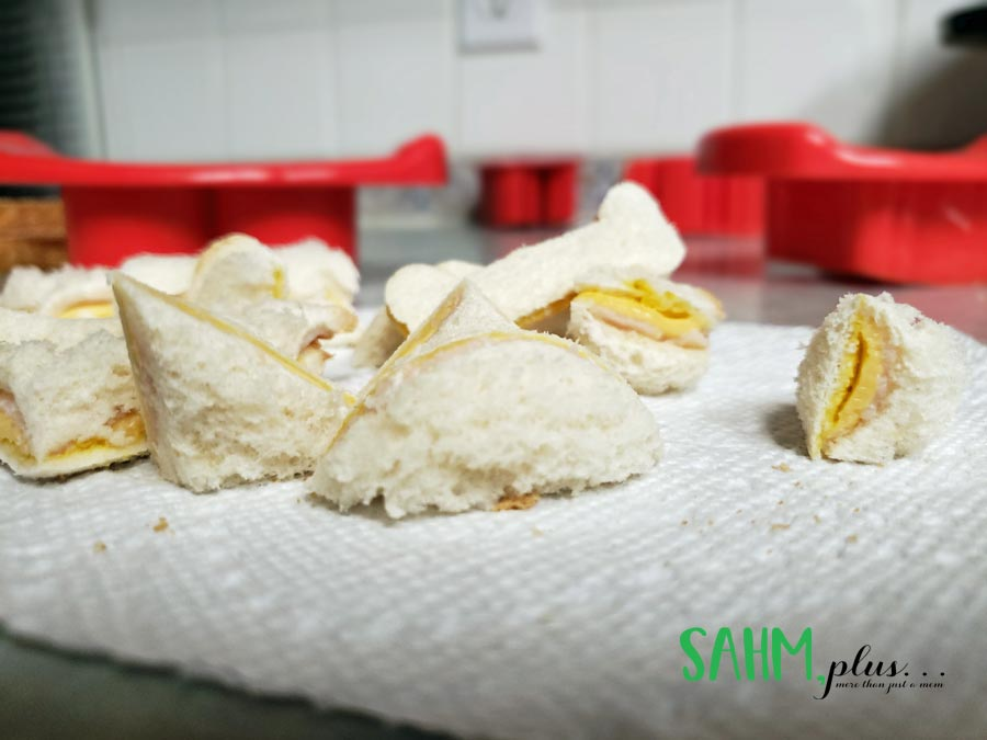 sandwich cut into shapes for a fun toddler snack idea