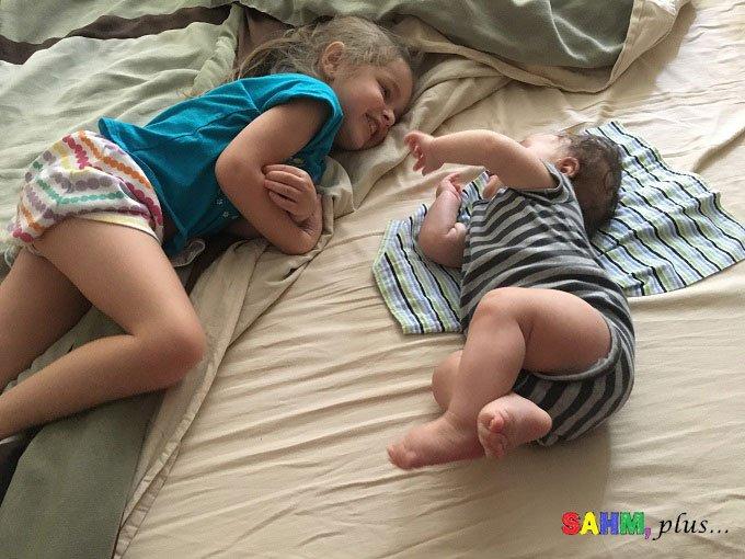 S with baby B, good big sister, as you turn 6 www.sahmplus.com