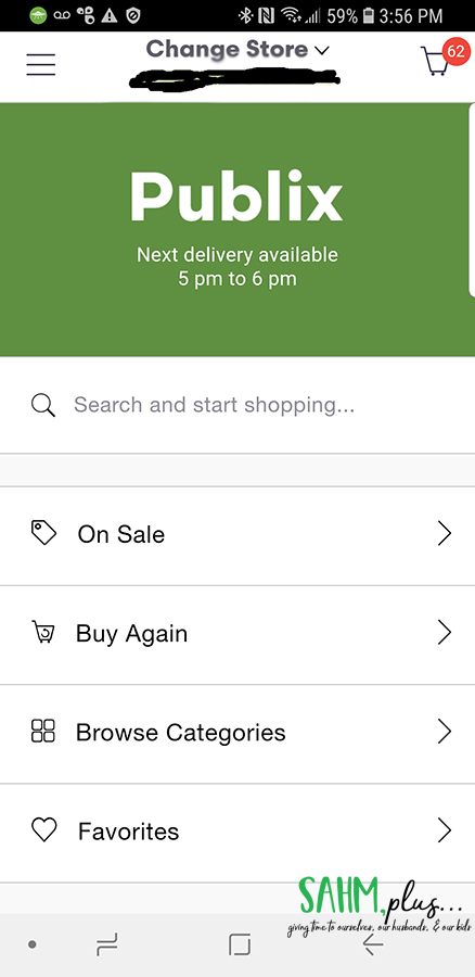 "Shipt homescreen with ""on sale"" tab to click through 