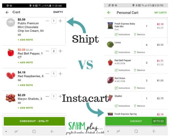 Shipt VS Instacart price comparison one shopping trip | sahmplus.com
