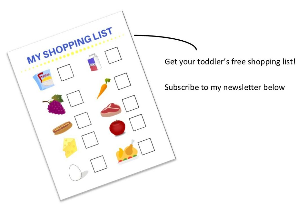 Shopping list subscribe image created for Play and Learn Shopping Basket toy review | www.sahmplus.com