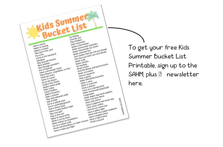 Kids summer bucket list newsletter signup image