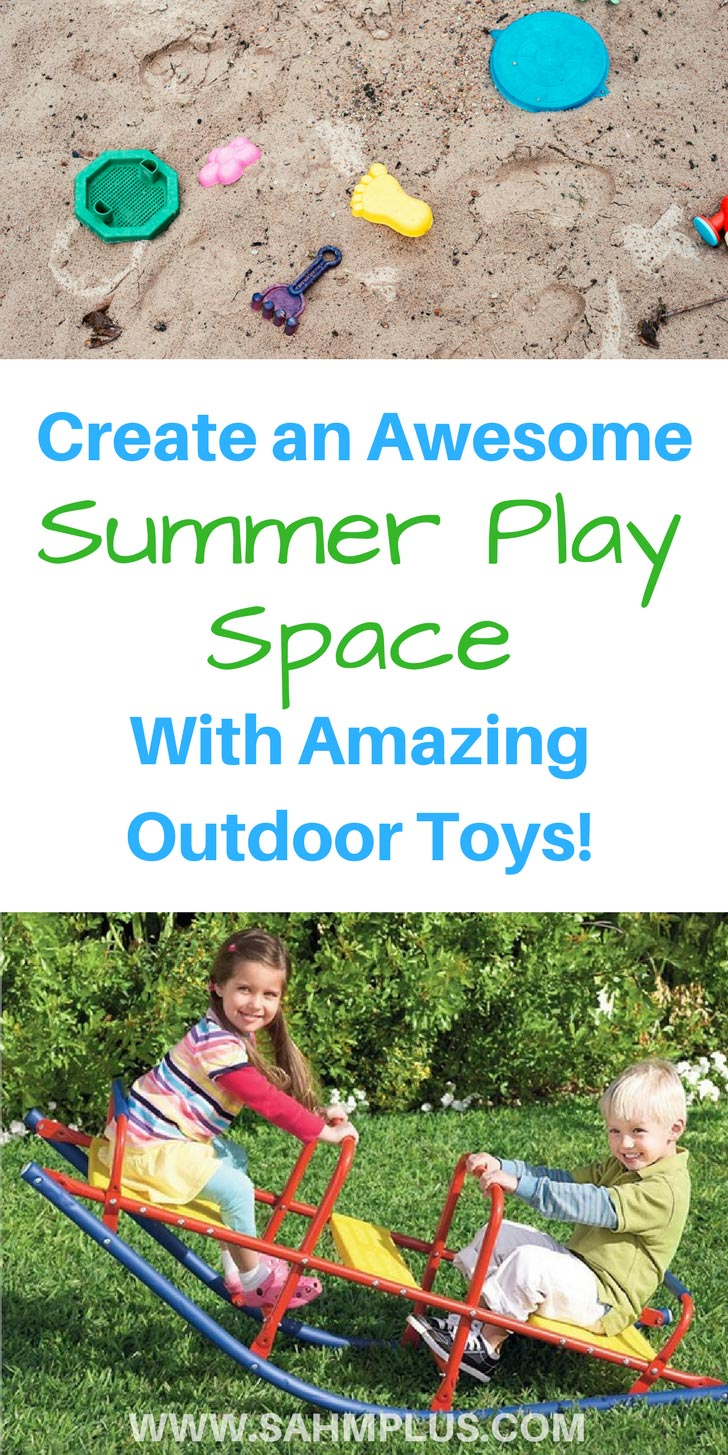Creating an awesome summer play space could be as simple as selecting amazing outdoor toys. Keep your kids busy and outside this summer with this selection of outdoor toys perfect for every interest!   www.sahmplus.com