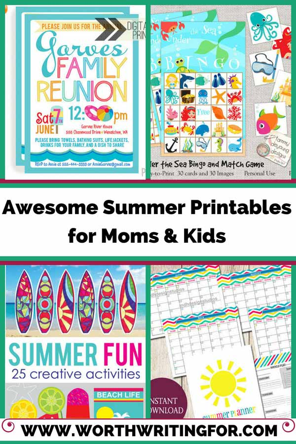 Summer printables for mom and kids - entertaining kids over summer break