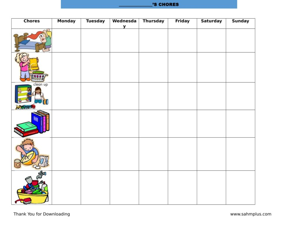 Printable toddler chore chart image