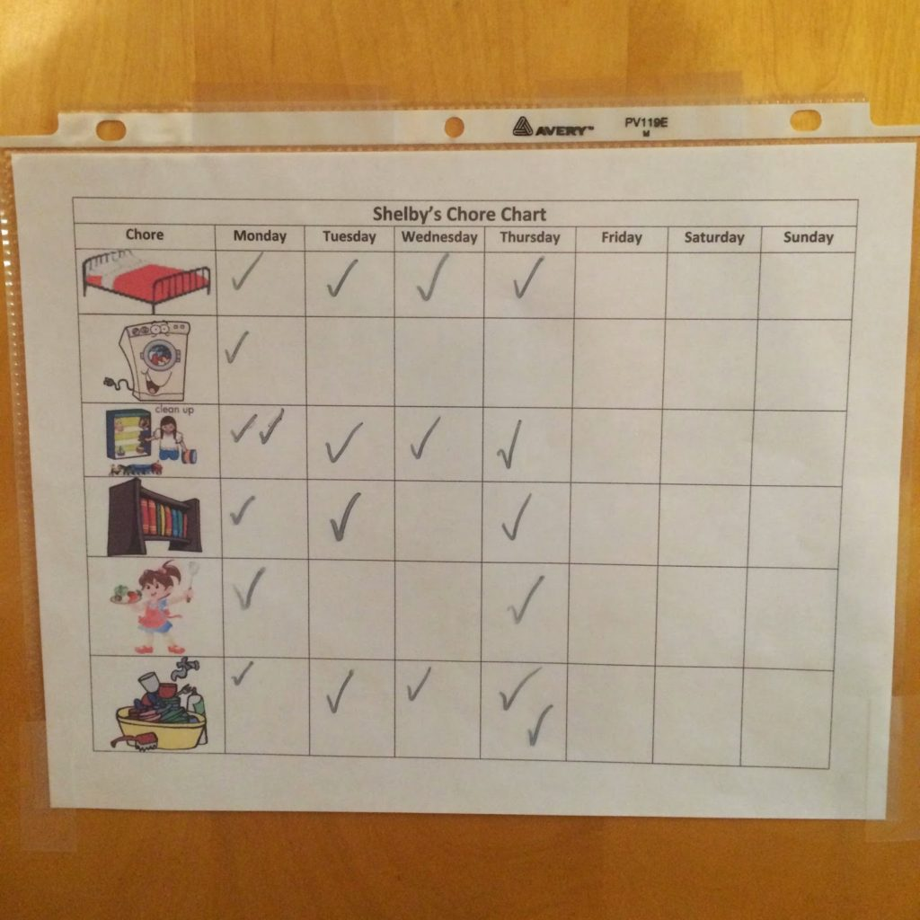 Our DIY dry erase toddler chore chart