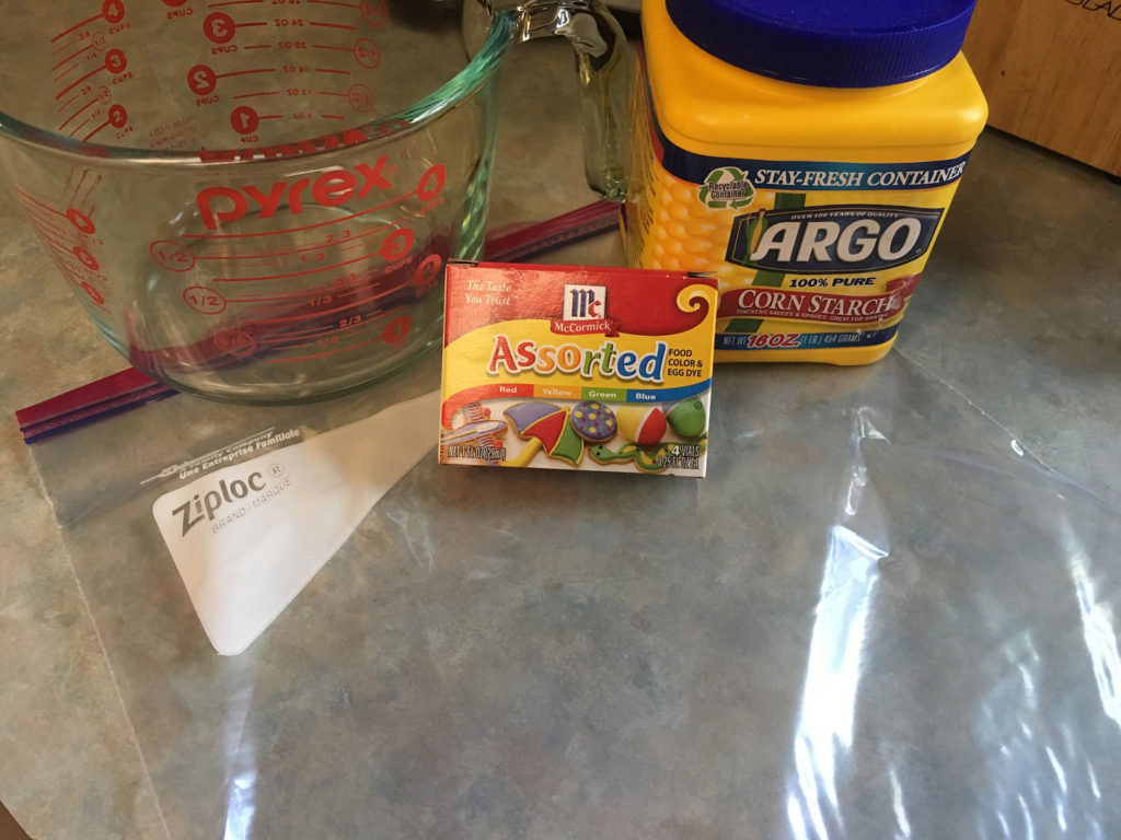 Ingredients and supplies for a toddler squishy bag