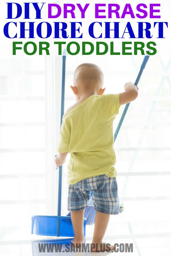 Learn how to make a dry erase chore chart for toddlers in just a few minutes. Prefer a free toddler chore chart with pictures printable? Just sign up for my emails! #toddlers #toddler #chores #chorechart #dryerase #dryerasechorechart #momlife #moms #printables #howto #diy