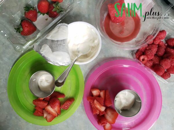 Fruit berries and yogurt for dipping - easy toddler snacks