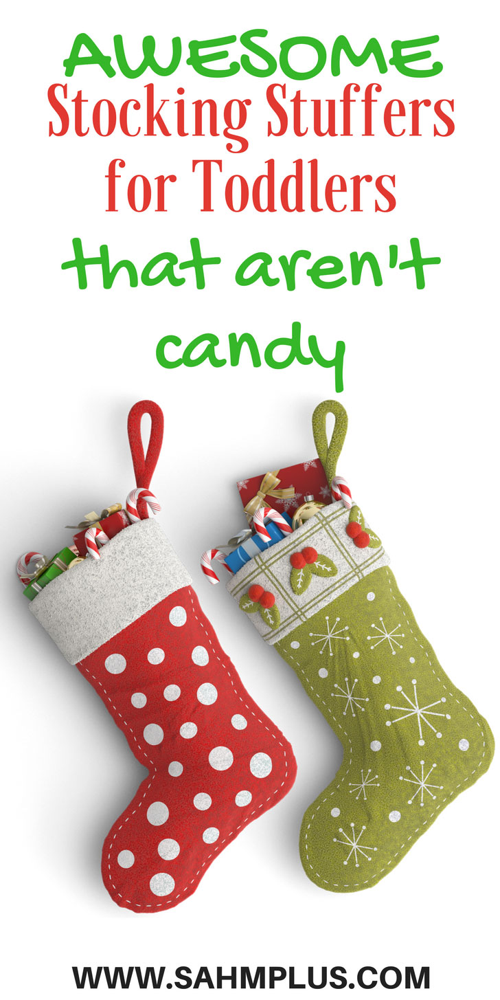 You'll love these stocking stuffer ideas for toddlers that aren't candy. Having trouble with toddler stocking stuffers? Try out these fabulous toddler gifts to stuff into their Christmas stockings   www.sahmplus.com