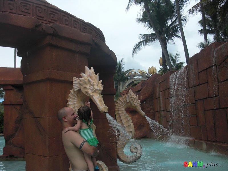 Dad and toddler at Atlantis Aquaventure - Disney Cruise with a Toddler | www.sahmplus.com