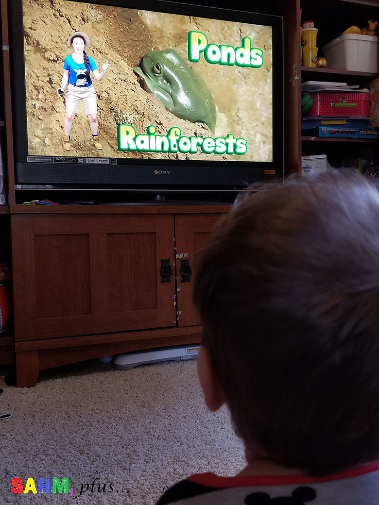 toddler watching Ellie Explorer, fun and educational online video from Wildbrain