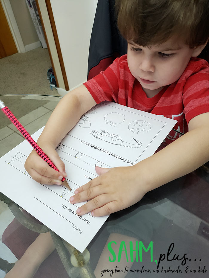 Learning to trace the letter A with The Preschool Box