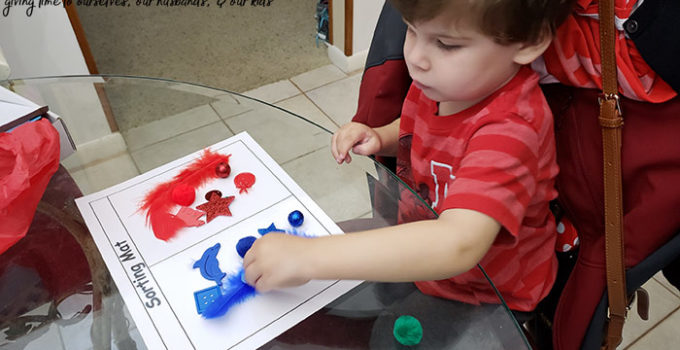 Red and blue sorting activity with The Preschool Box