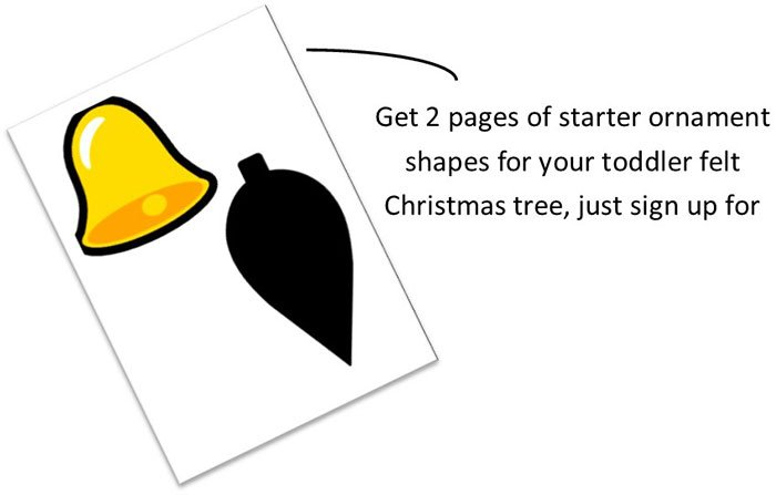 subscribe to newsletter for a free printable of starter tree ornaments for your toddler felt christmas tree | www.sahmplus.com